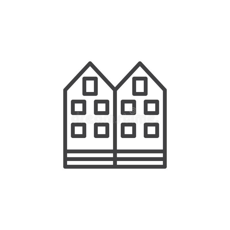 Línea icono de la casa de la vecindad ilustración del vector