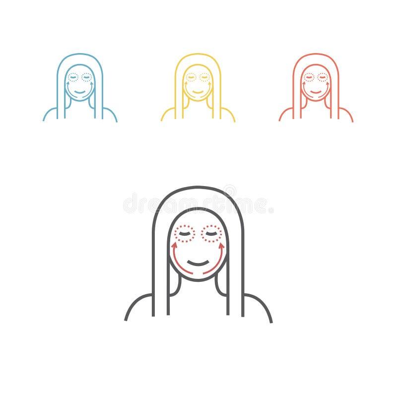 Línea icono de la cirugía cosmética Cara de la mujer Ilustración del vector libre illustration