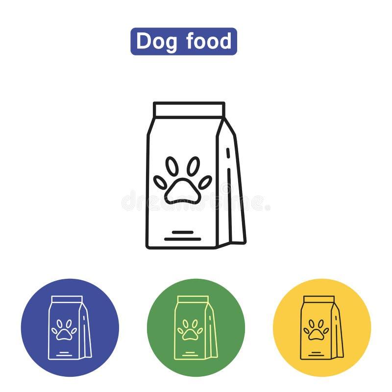 Línea icono de la comida de perro libre illustration
