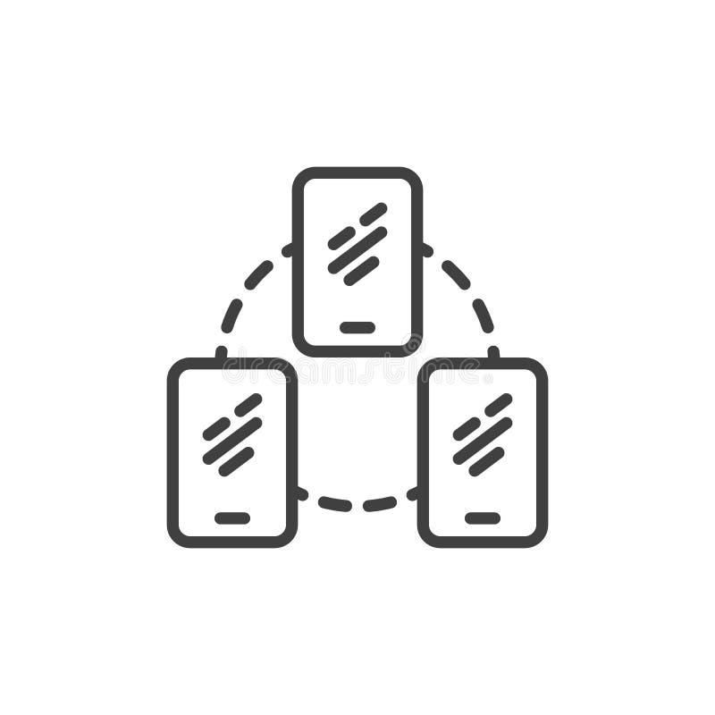 Línea icono de la conexión del servidor del teléfono móvil libre illustration