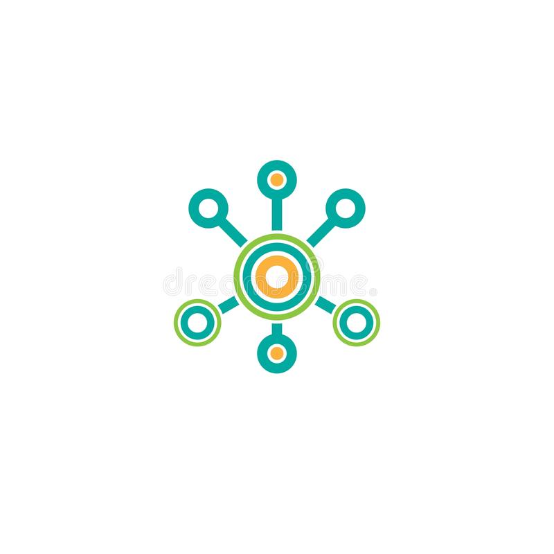 Línea icono de la conexión de red del eje aislado en blanco Logotipo de la tecnología o de la tecnología Botón del servidor o de  stock de ilustración