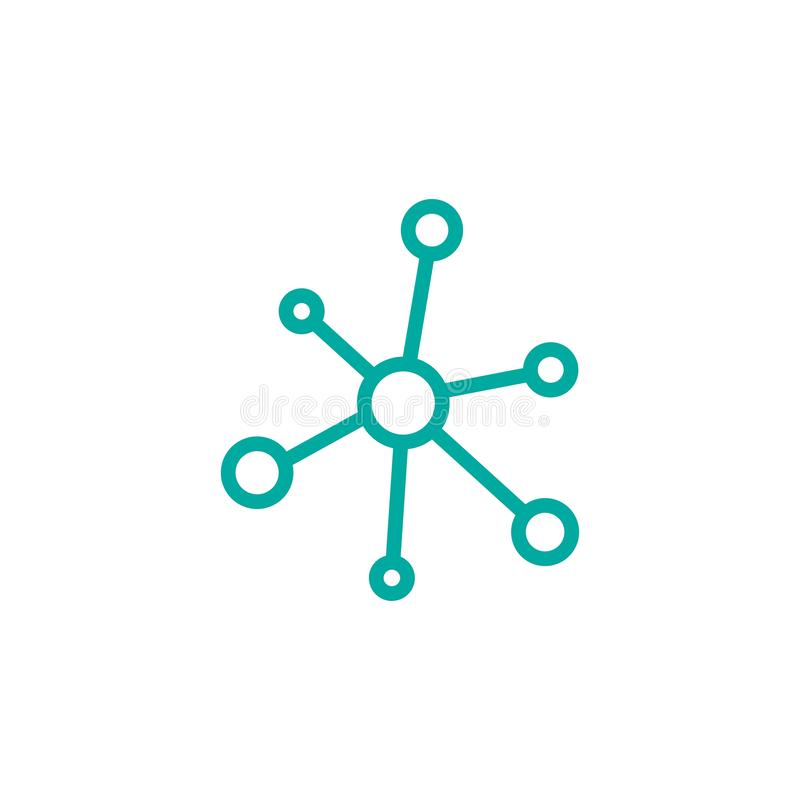 Línea icono de la conexión de red del eje aislado en blanco Logotipo de la tecnología o de la tecnología Botón del servidor o de  ilustración del vector