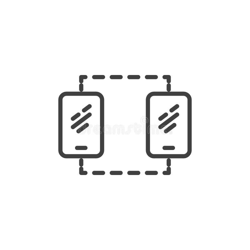 Línea icono de la conexión de la sincronización del teléfono móvil libre illustration