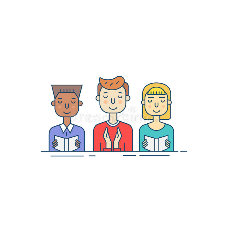 Línea icono de la congregación stock de ilustración