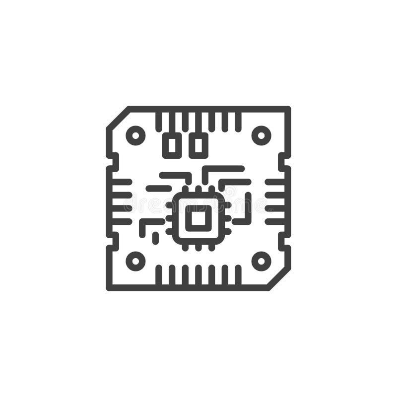 Línea icono de la CPU de la placa madre libre illustration