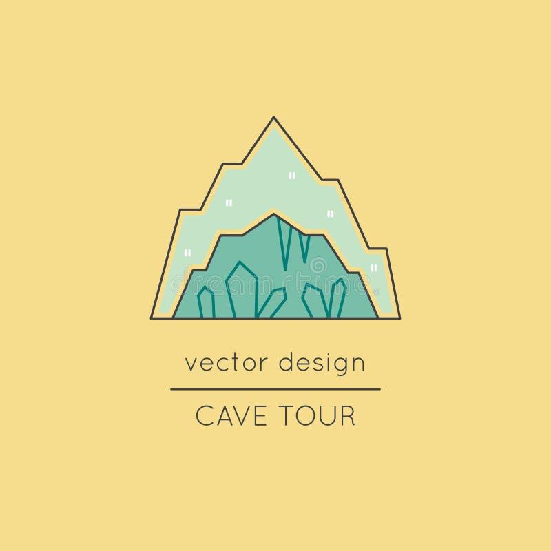 Línea icono de la cueva stock de ilustración