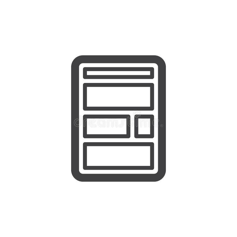 Línea icono de la disposición del sitio web stock de ilustración