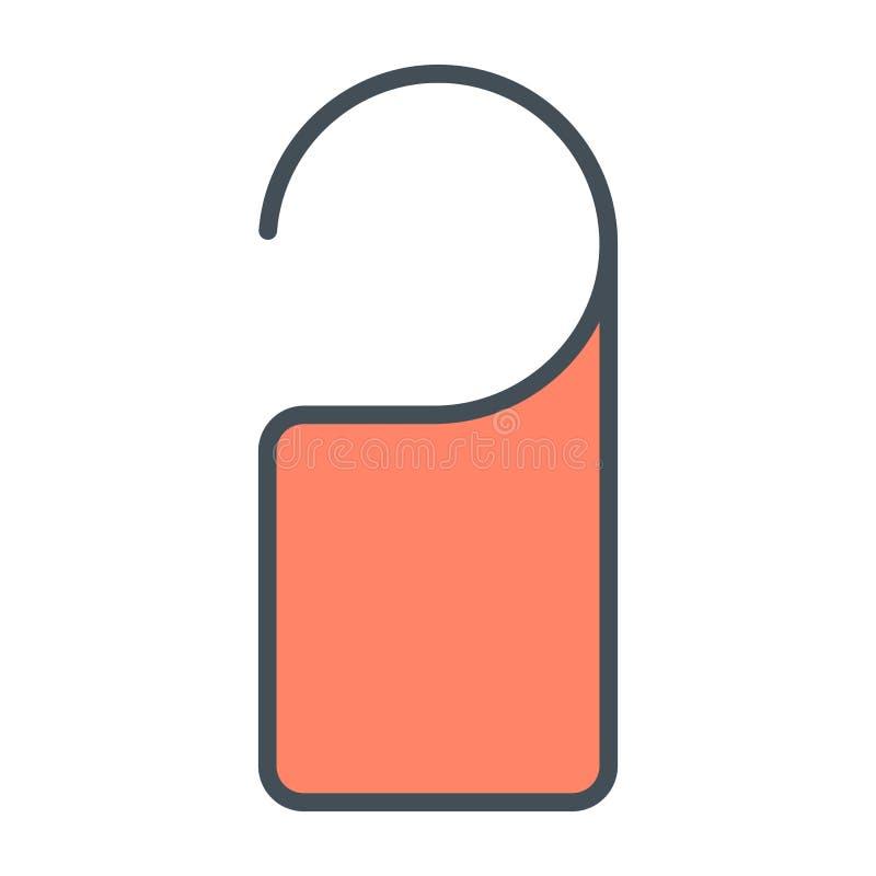 Línea icono de la ejecución de la etiqueta de la puerta Pictograma mínimo simple 96x96 del vector No disturbe la muestra libre illustration
