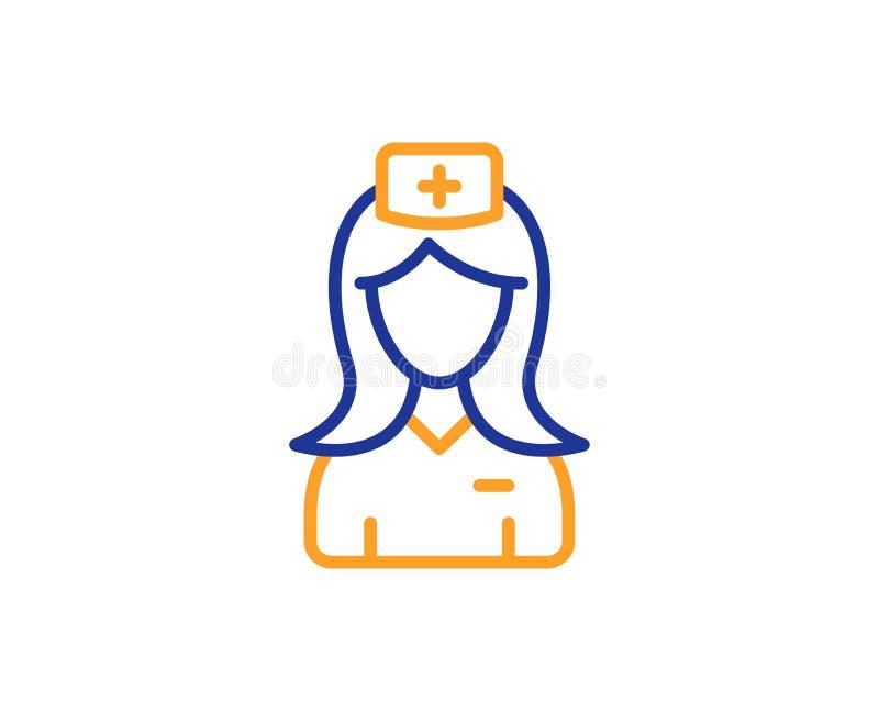 Línea icono de la enfermera del hospital Muestra auxiliar de la ayuda médica Vector ilustración del vector
