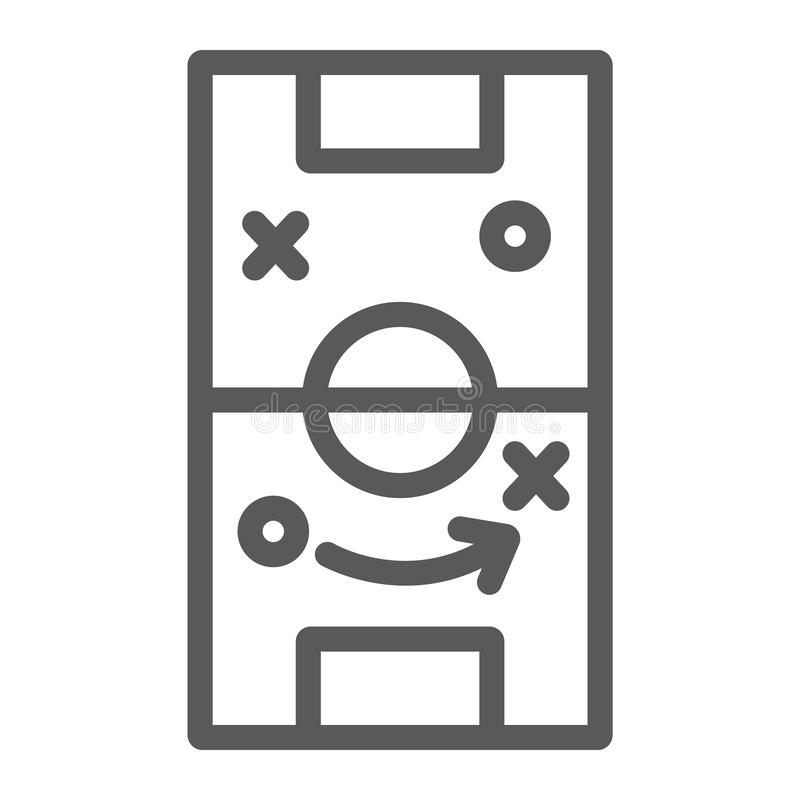Línea icono de la estrategia del fútbol, juego y campo, muestra de la táctica del fútbol, gráficos de vector, un modelo linear en stock de ilustración