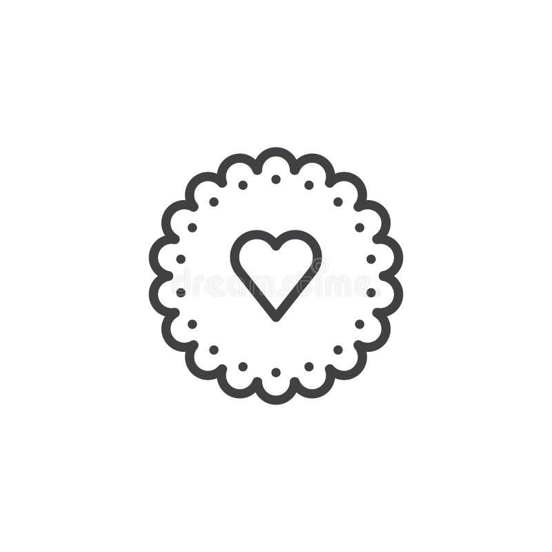 Línea icono de la galleta del corazón ilustración del vector