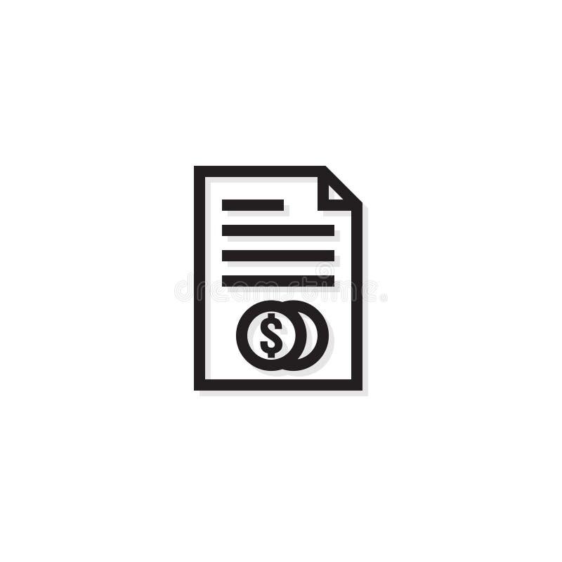 Línea icono de la gestión de negocio de la contabilidad Símbolo de la factura del billete de dólar del dinero del pago documento  stock de ilustración