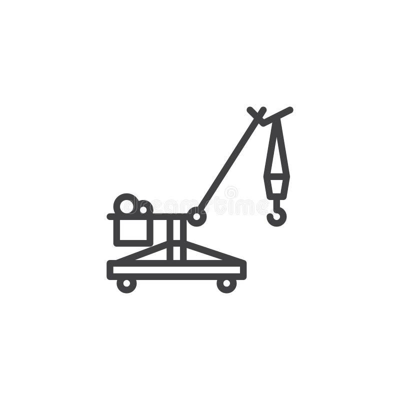 Línea icono de la grúa de correa eslabonada libre illustration