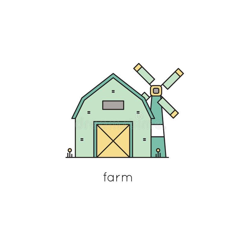 Línea icono de la granja libre illustration