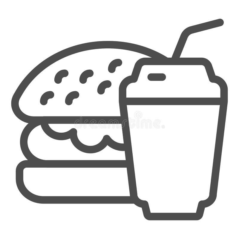 Línea icono de la hamburguesa y de la soda Ejemplo del vector de los alimentos de preparaci?n r?pida aislado en blanco Hamburgues ilustración del vector
