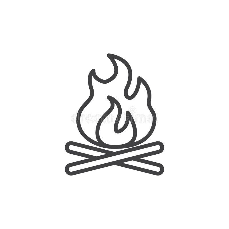 Línea icono de la hoguera stock de ilustración