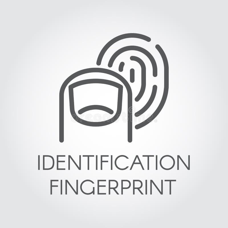 Línea icono de la identificación de la huella dactilar Exploración biométrica de la identidad Sistema de la verificación Tecnolog ilustración del vector