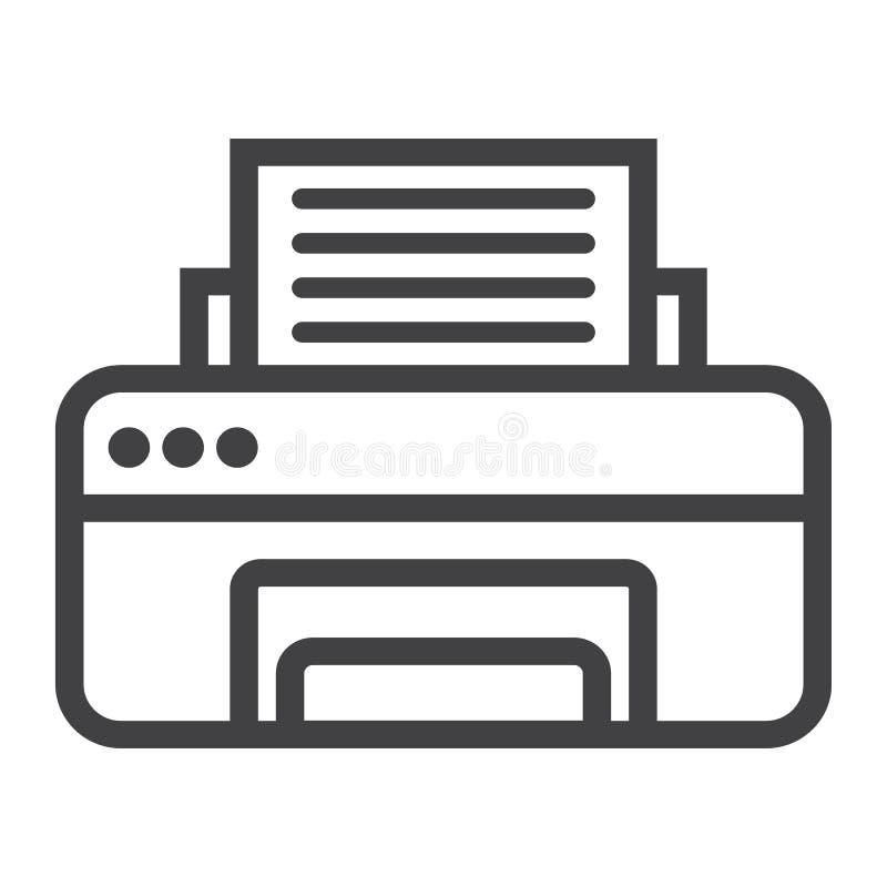 Línea icono de la impresora, fax y oficina, vector stock de ilustración