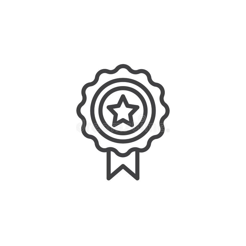 Línea icono de la insignia de la estrella del premio ilustración del vector