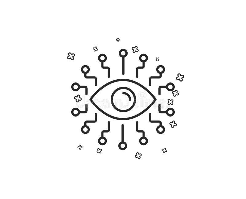 Línea icono de la inteligencia artificial Todo-ver la muestra del ojo Vector ilustración del vector