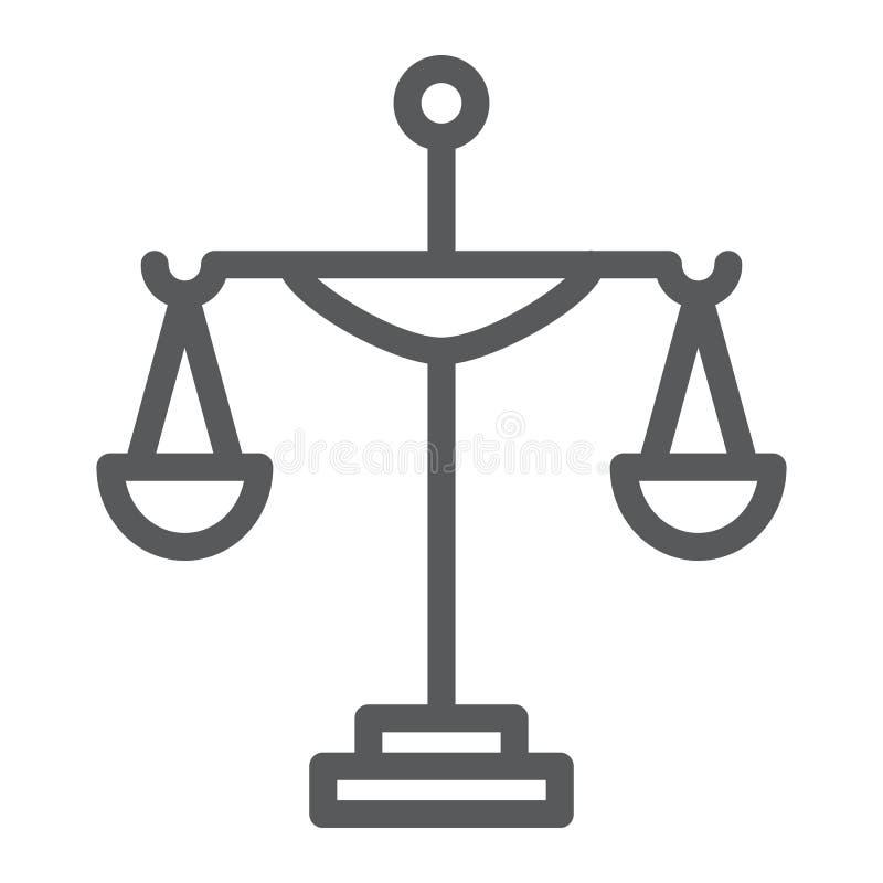 Línea icono de la justicia, corte y ley, muestra de la escala, gráficos de vector, un modelo linear en un fondo blanco ilustración del vector