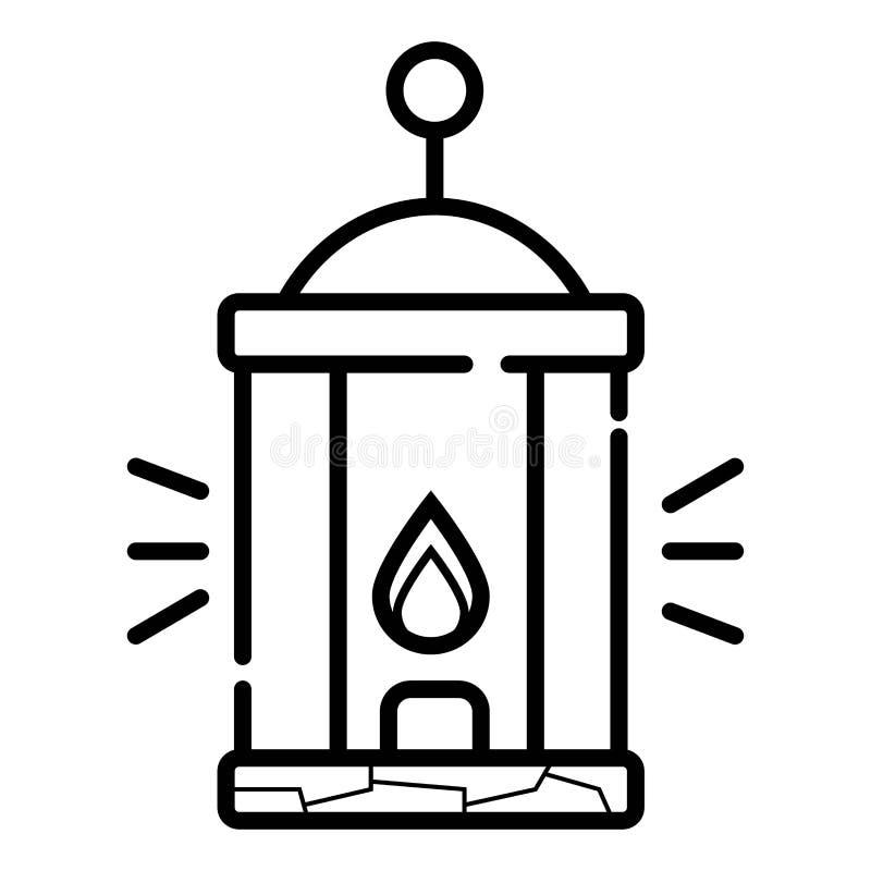 Línea icono de la linterna que acampa stock de ilustración