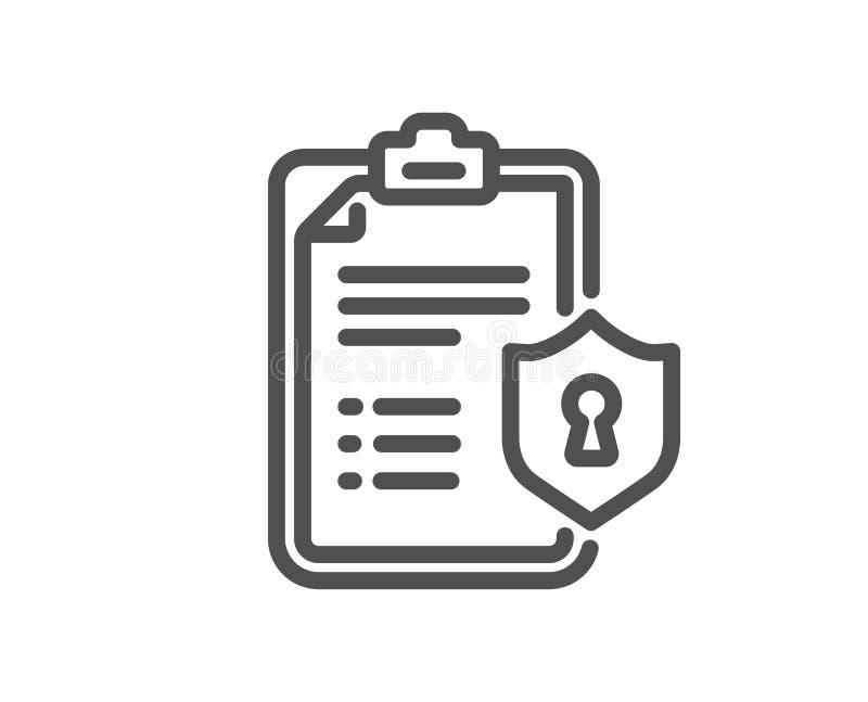 Línea icono de la lista de control Muestra del documento de las políticas de privacidad Vector libre illustration