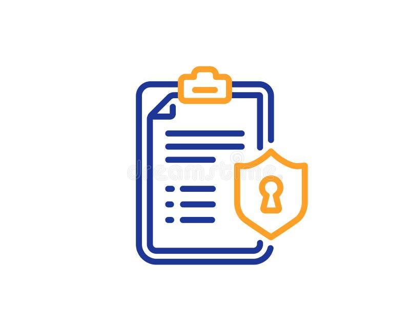 Línea icono de la lista de control Muestra del documento de las políticas de privacidad Vector stock de ilustración
