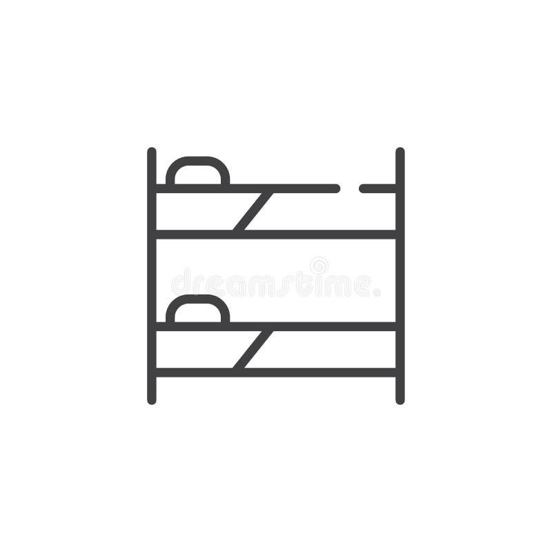 Línea icono de la litera stock de ilustración