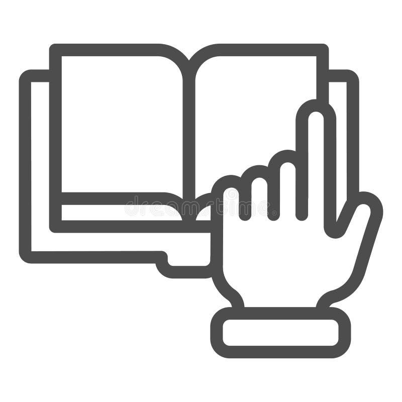 Línea icono de la mano y del libro del indicador Ejemplo del vector del libro de Digitaces aislado en blanco Estilo electrónico d libre illustration