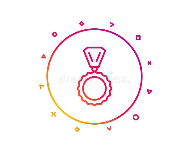 Línea icono de la medalla del premio Logro del ganador Vector libre illustration