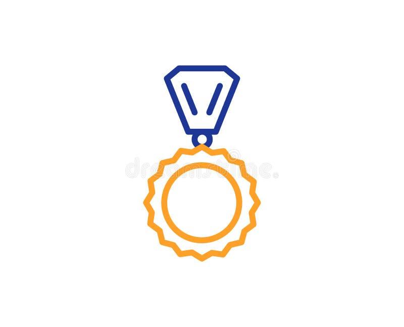 Línea icono de la medalla del premio Logro del ganador Vector stock de ilustración