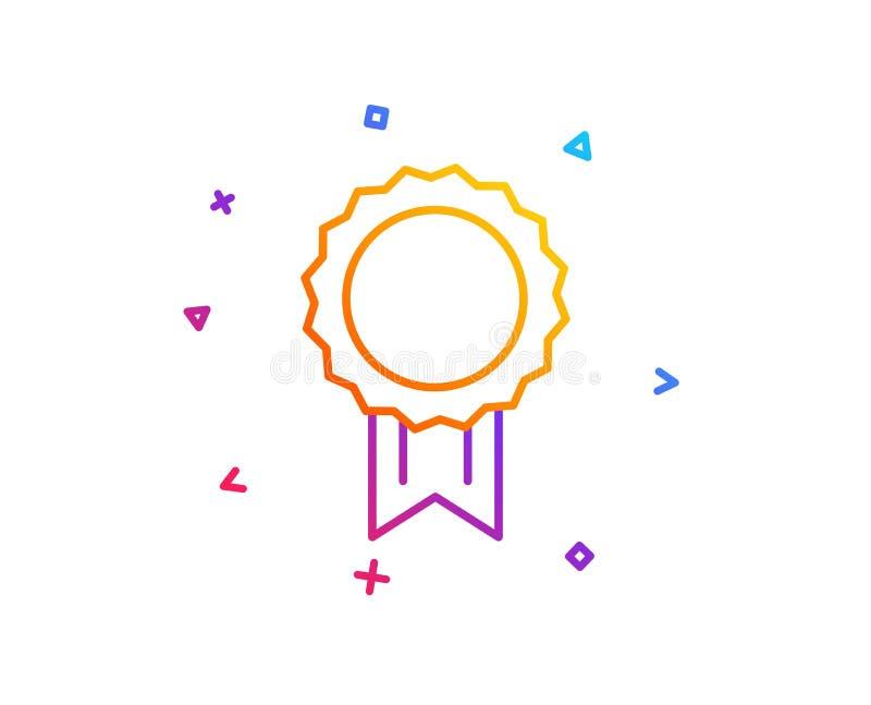 Línea icono de la medalla del premio Logro del ganador Vector ilustración del vector