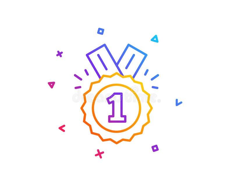 Línea icono de la medalla de la recompensa Logro del ganador Vector stock de ilustración