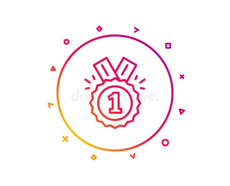 Línea icono de la medalla de la recompensa Logro del ganador Vector libre illustration