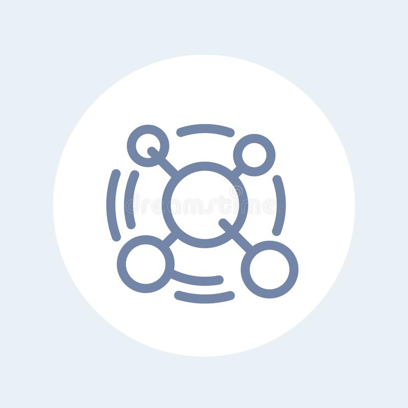 Línea icono de la molécula aislado en blanco libre illustration
