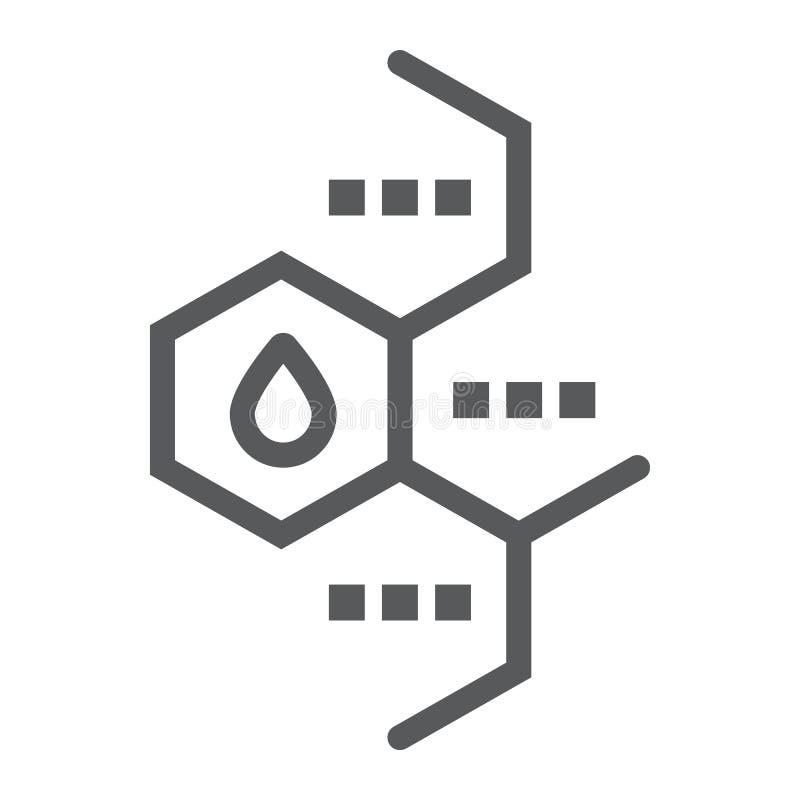 Línea icono de la molécula del aceite, químico y molecular, muestra de la fórmula del aceite, gráficos de vector, un modelo linea libre illustration