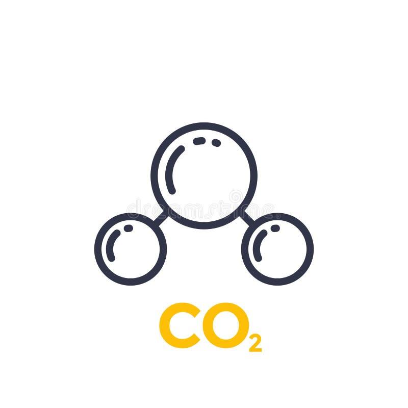 Línea icono de la molécula del CO2 stock de ilustración