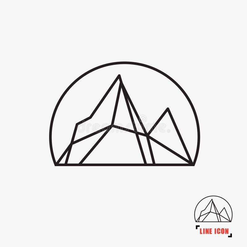 Línea icono de la montaña ilustración del vector
