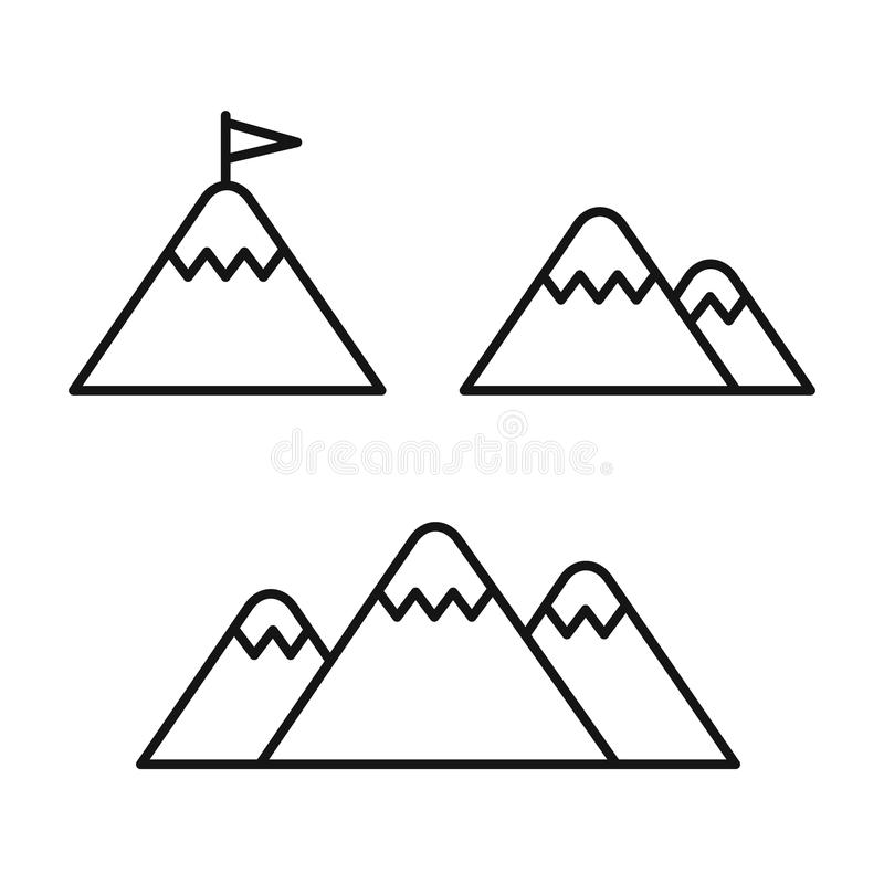 Línea icono de la montaña stock de ilustración
