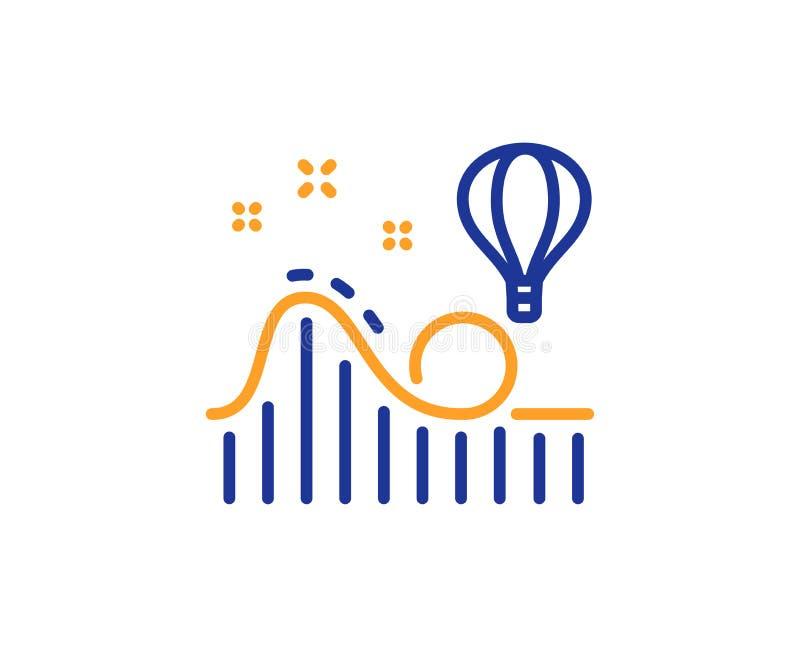 Línea icono de la montaña rusa Muestra del parque de atracciones Vector libre illustration