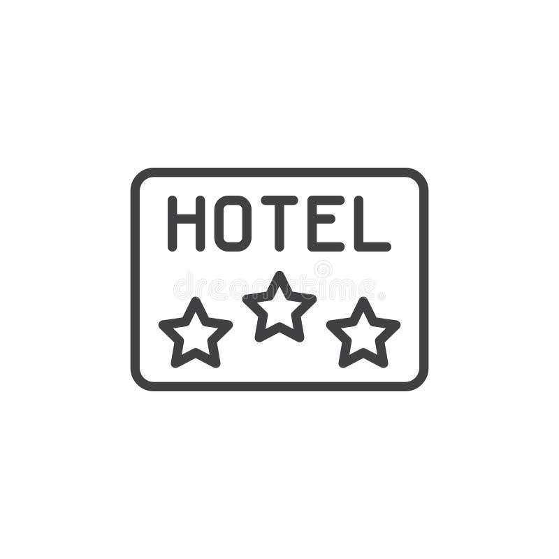 Línea icono de la muestra del apartamento del hotel de tres estrellas libre illustration