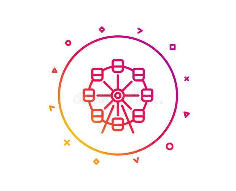 Línea icono de la noria Muestra del parque de atracciones Vector ilustración del vector