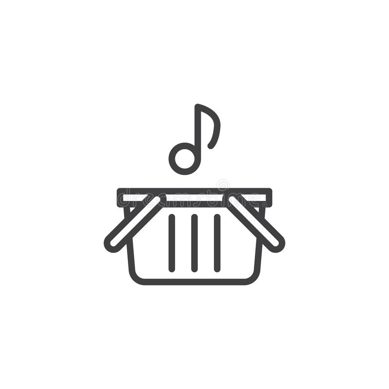 Línea icono de la nota musical y de la cesta de compras stock de ilustración