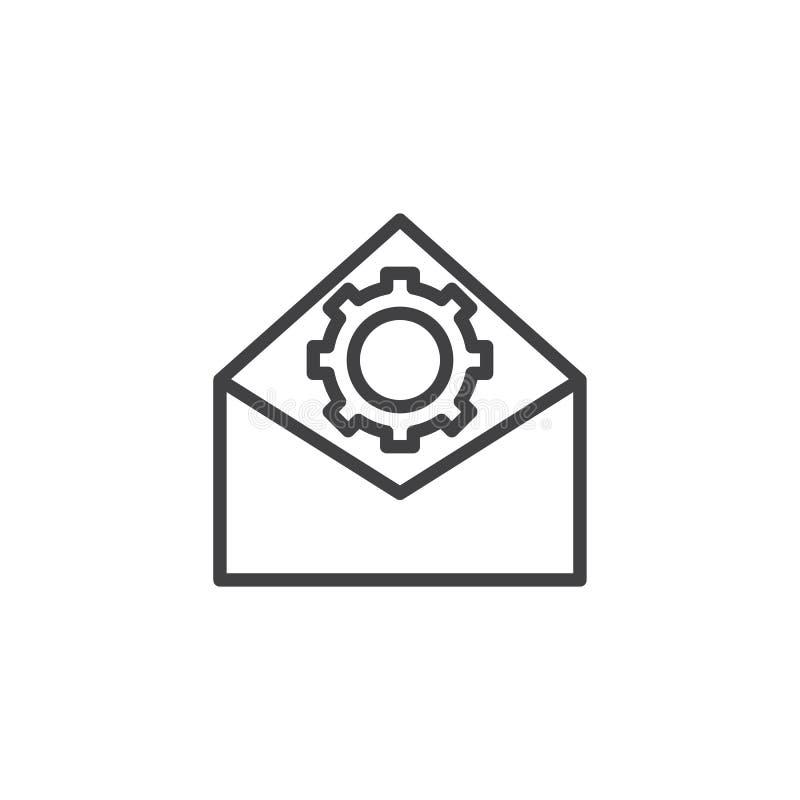 Línea icono de la optimización del correo electrónico libre illustration