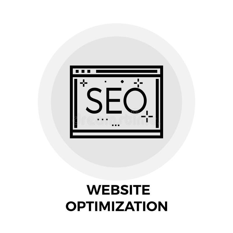 Línea icono de la optimización del sitio web stock de ilustración