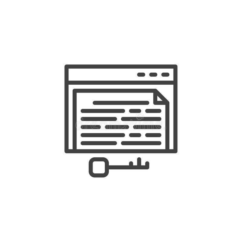 Línea icono de la página de la palabra clave ilustración del vector