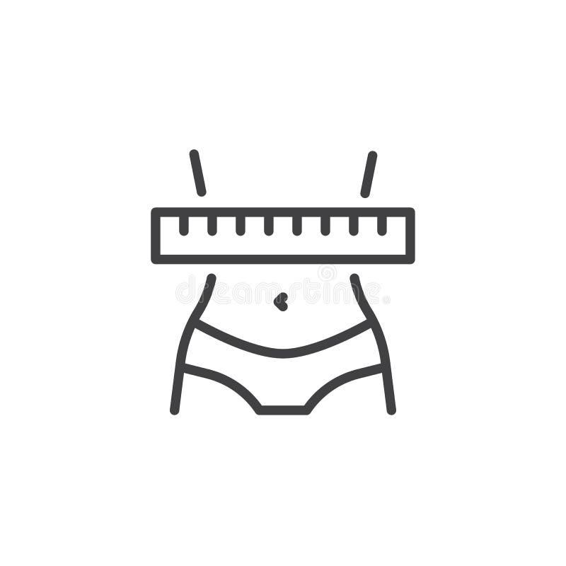 línea icono de la pérdida de peso libre illustration