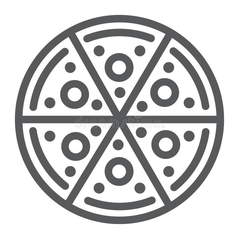 Línea icono de la pizza, comida e italiano, muestra de los alimentos de preparación rápida, gráficos de vector, un modelo linear  ilustración del vector