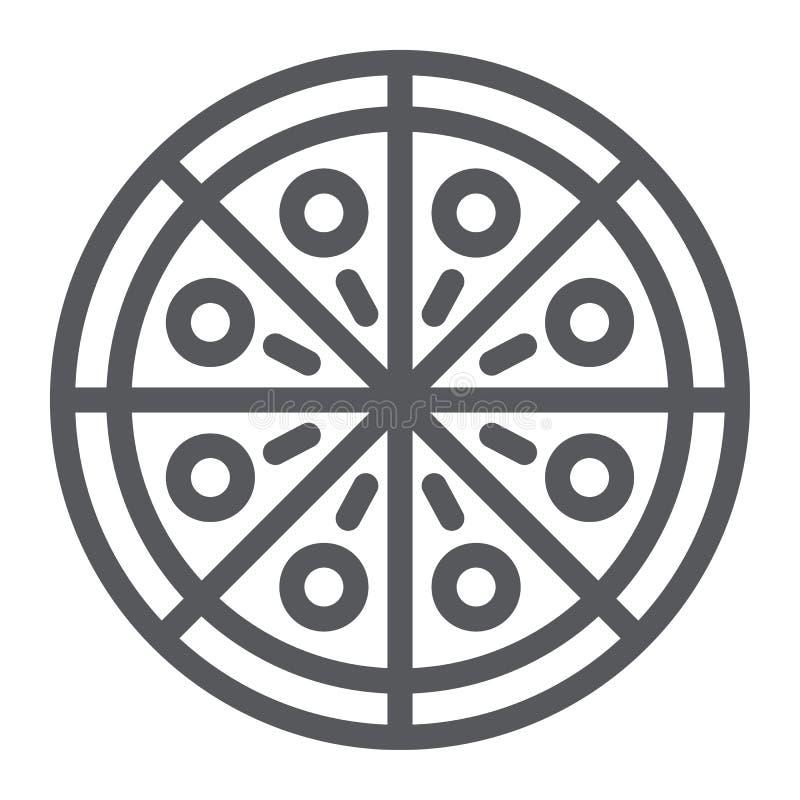 Línea icono de la pizza, partido y comida, muestra de los alimentos de preparación rápida, gráficos de vector, un modelo linear e ilustración del vector